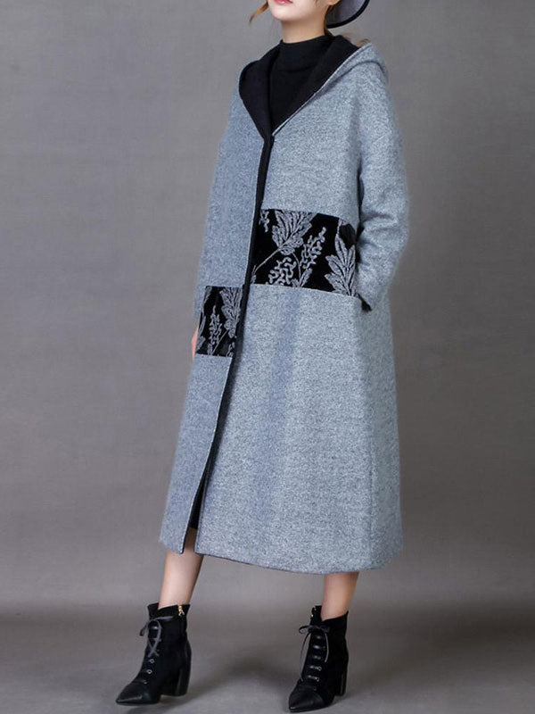 Contrast Flower Detail Hooded Coat