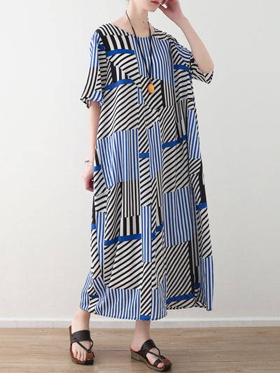 Mikado Stripe Plus Size Maxi Dress