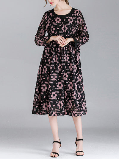 Marcy Vintage Contrasting Round Neck Floral Lace High Waist Midi Dress
