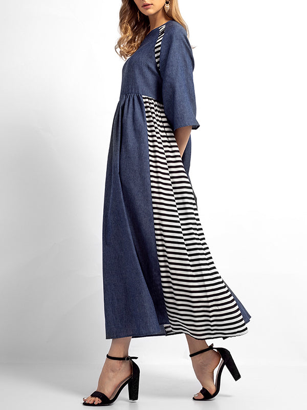 Sabrina Stripes Solid Color A-Line Dress