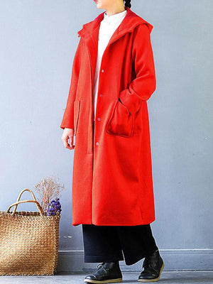 Oversized Fit Hooded Wool Duster Coat