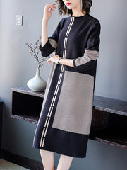 Winter Sky Scopp-Neck Midi Dress
