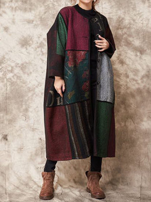 Ethnic Dew Scarf Wrapped Coat