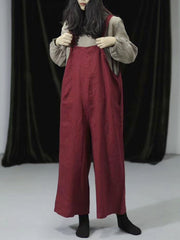 Jewel Cotton Wide-Legged Overall Dungarees(USA ONLY)