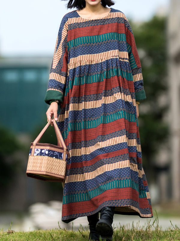 Vintage Smock Dress With Alternating Colors