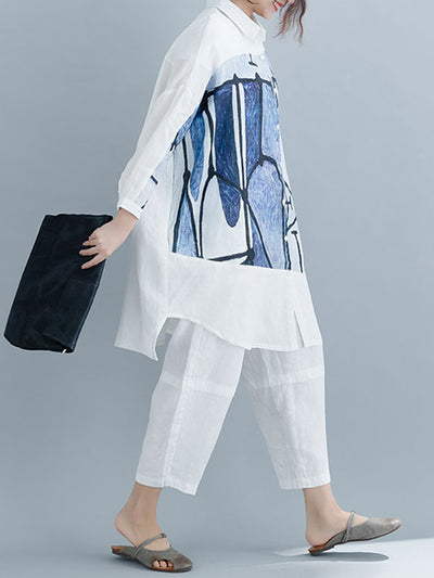Avery Abstract Inking Shirt Dress