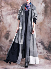 Splicing Grey Coat with Tailored Collar