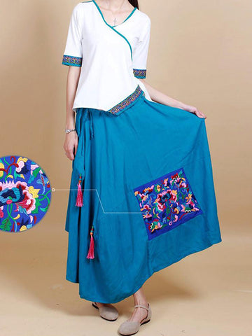 Irregular Cut Cotton Embroidered Skirt With Tassel