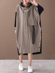 For Tonight Splicing Front Pocket Hooded Midi Dress