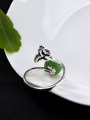 Lillie Silver Butterfly Jade Lotus Open Ring