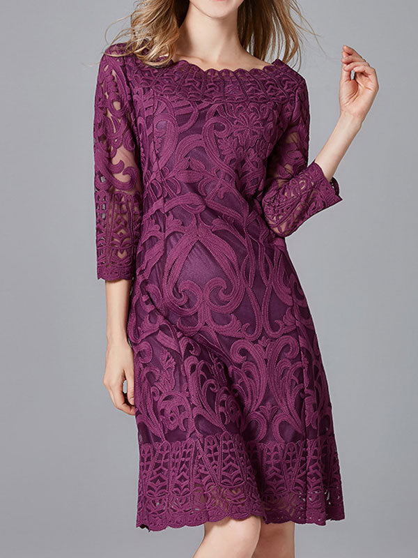 Lavender Lace Midi Dress