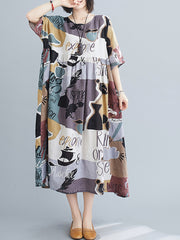 Together Forever Abstract Print Cotton Smock Dress