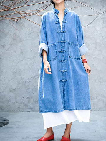 Slouch Pocket Denim Coat