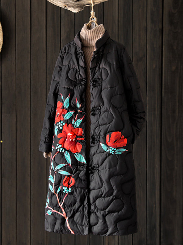Clara Ethnic Solid Color Quilted Down Overcoat with Floral Prints