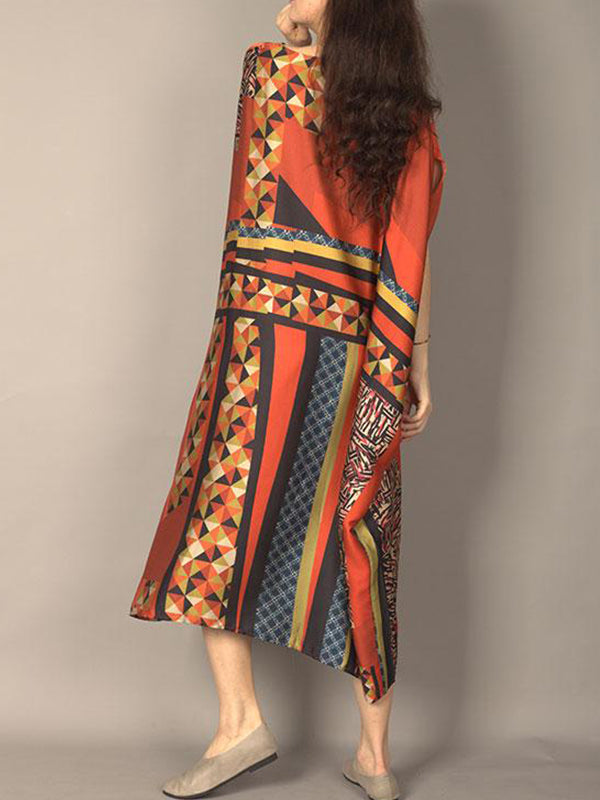 Geometric Houndstooth Kaftan Dress