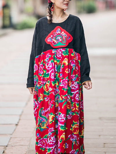 No Mistakes Print Patched Smock Dress