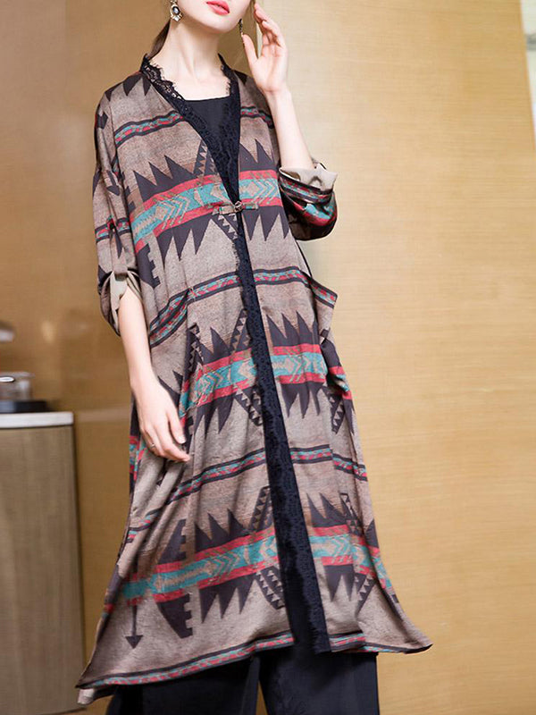 Tribal Print Front-Open Dress