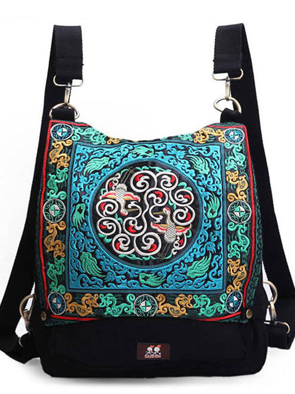 Aztec Embroidered Cross-Body Backpack