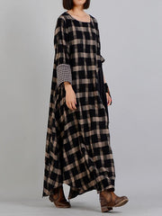 Vintage Plaid Print Maxi Dress