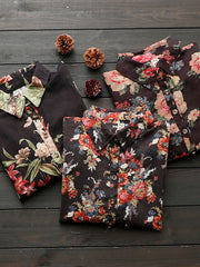 Beatriz Vintage Matching Bloomed Flower Print Buttoned Lapel Tops