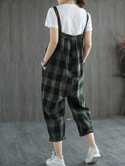 The Bond Of Love Checkered Print Cropped Overall Dungarees