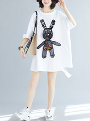 Bouncing Bunny Embroidered Cotton T-Shirt