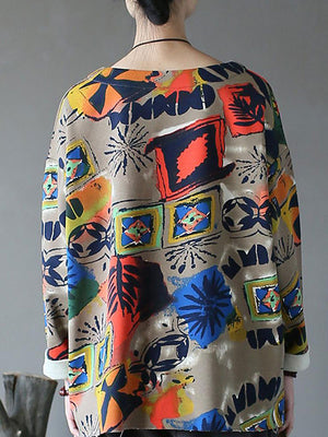 Crew Neck Hawaiian Print Top