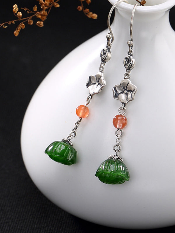 Ella Vintage Silver Jade Ear Pendants with Silver Chains