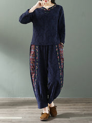 Ethnic Fleeced Cotton & Linen Pants