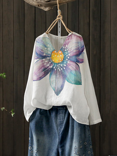 Allyson Vintage V-neck Water Color Floral Print Linen T-shirt