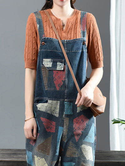 Laney Dejan Patch Print Cotton Overalls Dungarees