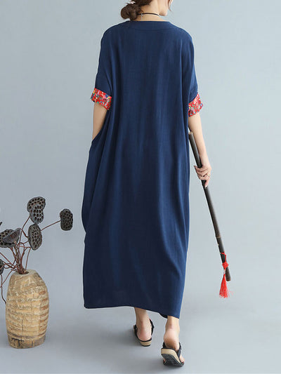 Retro Direction Patched Maxi Dress