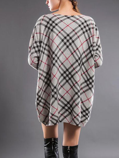 Sheryl Boat Neck Pullover Sweatshirt with Plaids Prints