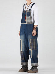All the Feels Patched Denim Overalls Dungarees