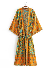No Rush Orange Kimono Robe