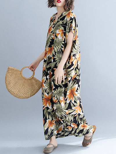 Monstera Tropical Palm Plus Size Kaftan Dress