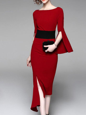 Ruby Bell Sleeve Bodycon Dress