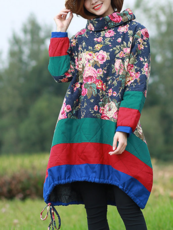 High Neck Floral Pullover Jacket with Color Stripes