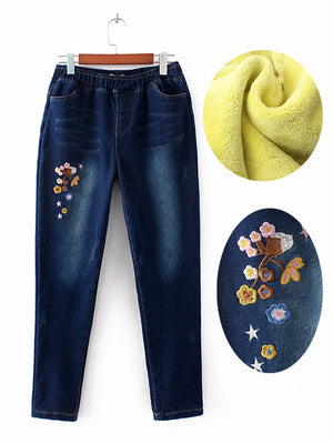 Embroidered Flowers Flannel Pencil Pants