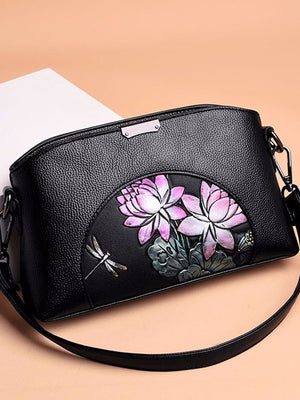 Floral Pond Zip Shoulder Bag