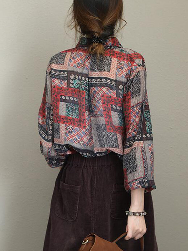 Jayne Contrasting Geometric Floral Print Ethnic-style Lapel Tops