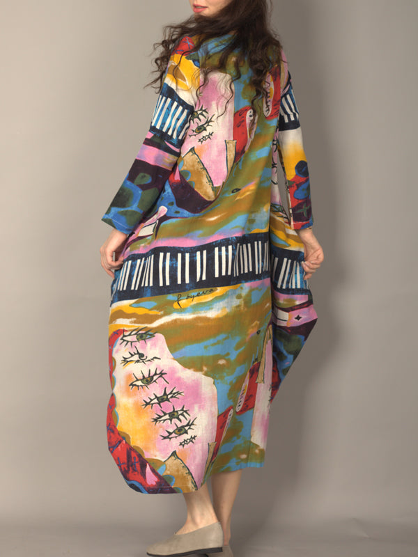 Abstract Print Irregular Dress
