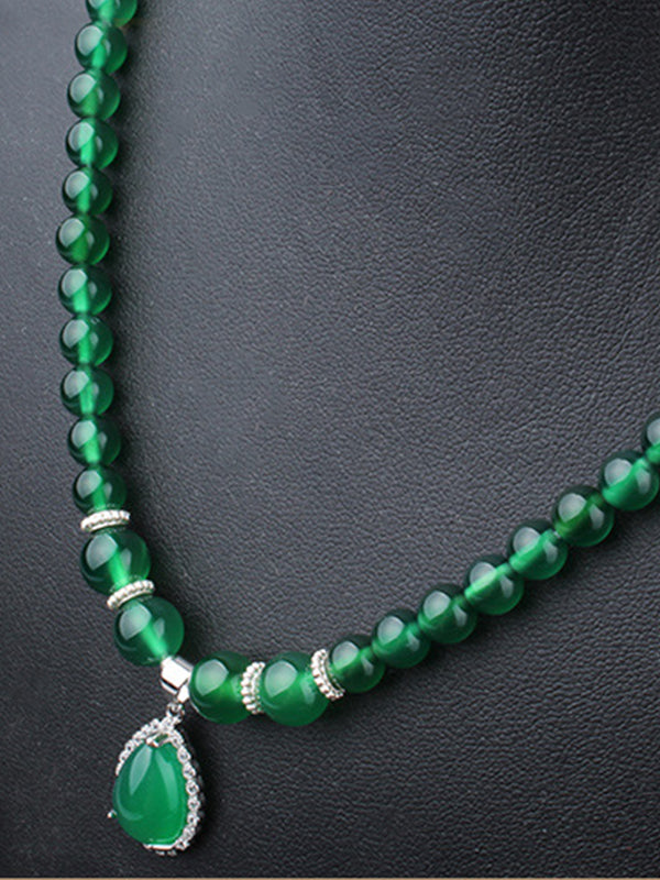 Sue Vintage Green Agate Pendant with Silver Spacers