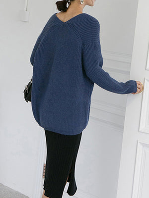V-Neck Pullover Sweatshirt With Puff Sleeves