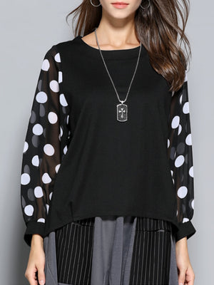 Cassandra Round Neck Joint Knit Top with Polka Dot Sleeves