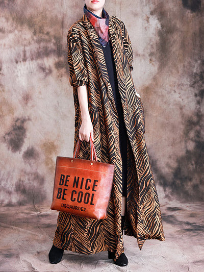 A Cozy Chapter Tweed Wild Print Silk Coat