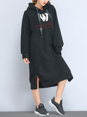 Thickened Lamb Cashmere Hooded Shift Dress