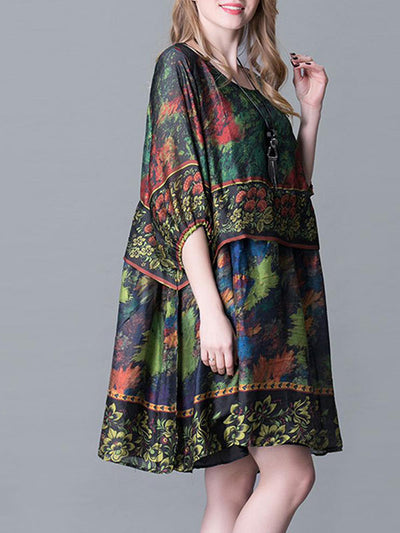 Retro Lantern Sleeves Layered Midi Dress