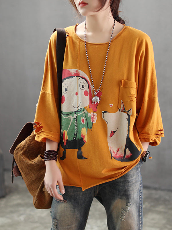 Autumn Vintage Irregular Cartoon Printing Baggy Tops with Cracked Sleeves