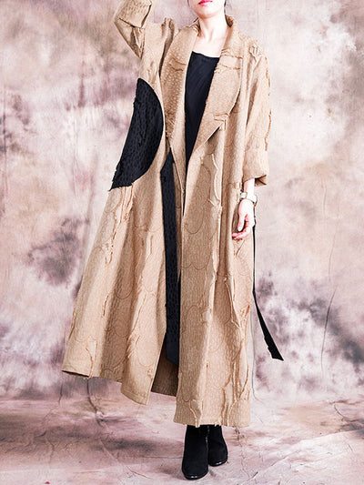 Tailored Collar Splicing Coat with Belt